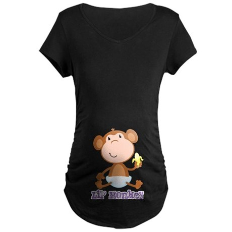 Lil' Monkey Smile Maternity Dark T-Shirt