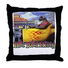 hot rod kitty Throw Pillow