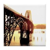 Newport Bridge Sunset Tile Coaster