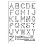 Animal Alphabet Coloring Page Large Poster