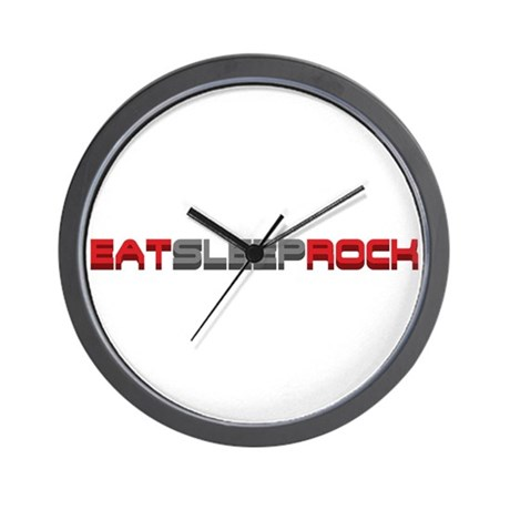 Eat Sleep Rock Wall Clock