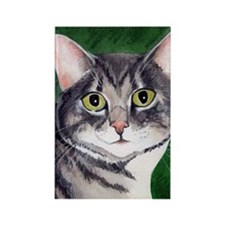 Grey Tabby Cat Rectangle Magnet
