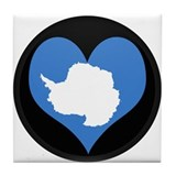 I love Antarctica Flag Tile Coaster