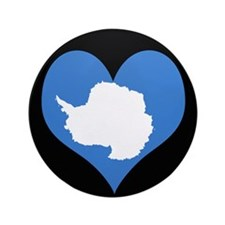 "I love Antarctica Flag 3.5"" Button"