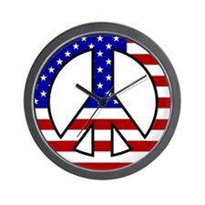 U.S. Flag Peace Sign Wall Clock