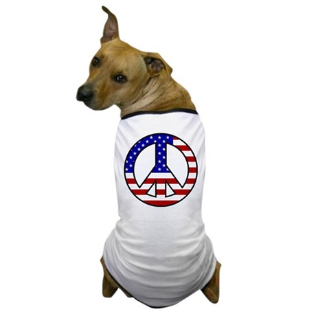 U.S. Flag Peace Sign Dog T-Shirt