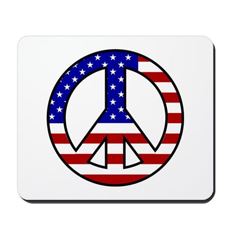 U.S. Flag Peace Sign Mousepad