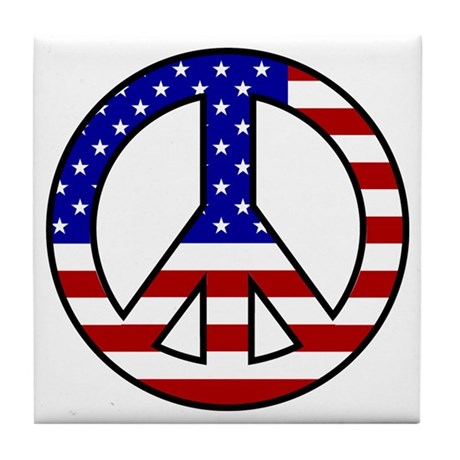 U.S. Flag Peace Sign Tile Coaster