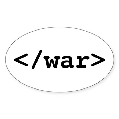 </war> - End War Oval Sticker