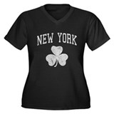New York Irish Women's Plus Size V-Neck Dark T-Shi