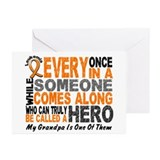 HERO Comes Along 1 Grandpa LEUKEMIA Greeting Cards