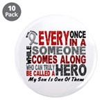 "HERO Comes Along 1 Son BRAIN CANCER 3.5"" Button (1"