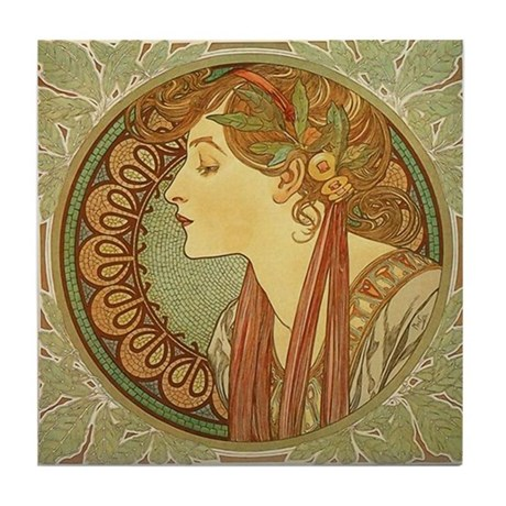 Alphonse Mucha Art Nouveau Tile Coaster - Laurel