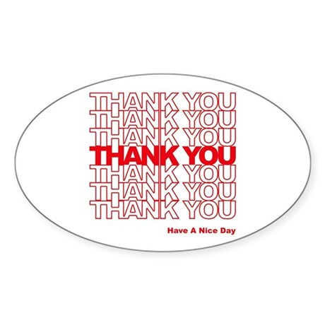 Thank You Bag Oval Sticker