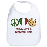 Peace, Love &amp; Pepperoni Pizza Bib