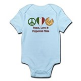Peace, Love &amp; Pepperoni Pizza Infant Bodysuit