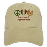 Peace, Love & Pepperoni Pizza Baseball Cap