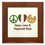 Peace, Love & Pepperoni Pizza Framed Tile
