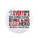 "HERO Comes Along 1 Niece BRAIN CANCER 3.5"" Button"