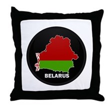 Flag Map of Belarus Throw Pillow
