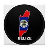 Flag Map of Belize Tile Coaster