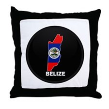 Flag Map of Belize Throw Pillow
