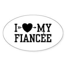 I Love My Fiancee Oval Decal