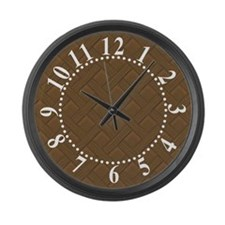 Brown Trellis Bold White Numbers Large Wall Clock