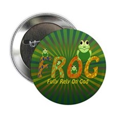 """Frog Fully Rely On God 2.25"""" Button (100 pack"""