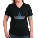 Pi Lot Women's V-Neck Dark T-Shirt