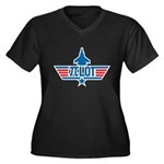 Pi Lot Women's Plus Size V-Neck Dark T-Shirt
