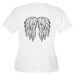 Angel wings on back Women's Plus Size V-Neck T-Shi