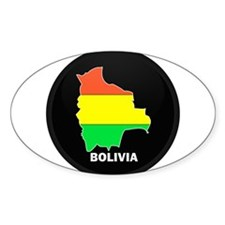 Flag Map of Bolivia Oval Decal
