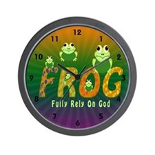 Frog Fully Rely On God Wall Clock