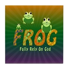 Frog Fully Rely On God Tile Coaster