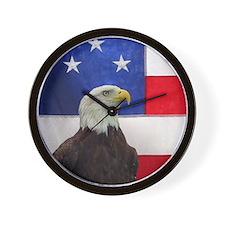 Bald Eagle and American Flag Wall Clock