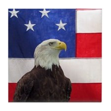 Bald Eagle and American Flag Tile Coaster