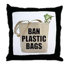 Ban Plastic Bags Throw Pillow