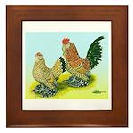 Mille Fleur Rooster & Hen Framed Tile