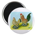 Mille Fleur Rooster & Hen Magnet