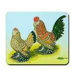 Mille Fleur Rooster & Hen Mousepad