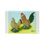 Mille Fleur Rooster & Hen Rectangle Magnet (10 pac