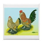 Mille Fleur Rooster & Hen Tile Coaster