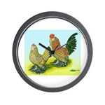 Mille Fleur Rooster & Hen Wall Clock