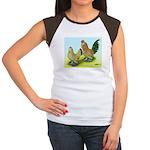 Mille Fleur Rooster & Hen Women's Cap Sleeve T-Shi