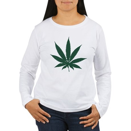 Cannabis Leaf Womens Long Sleeve T-Shirt