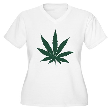 Cannabis Leaf Plus Size V-Neck Shirt