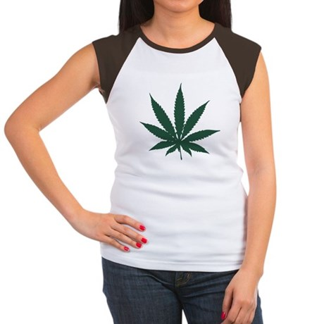 Cannabis Leaf Womens Cap Sleeve T-Shirt