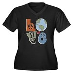 Love Earth Women's Plus Size V-Neck Dark T-Shirt
