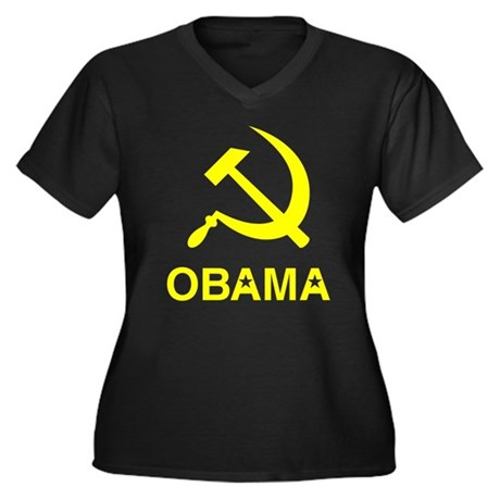 Socialist Obama Womens Plus Size V-Neck Dark T-Sh
